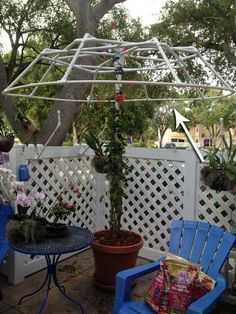 Jasmine would be awesome when it's blooming and the leaves are pretty all year ~~ Use PVC pipes to create a living canopy. - Top 20 Low-Cost DIY Gardening Projects Made With PVC Pipes Pvc Pipe Crafts, Pvc Pipe Projects, Diy Garden Projects, Outdoor Projects, Garden Ideas, Diy Trellis, Garden Trellis, Trellis Ideas, Wisteria Trellis