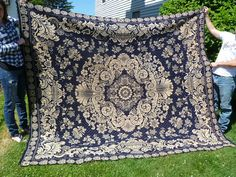 Antique Jacquard Double Woven Coverlet Blue And by FairchildsInc, $445.00