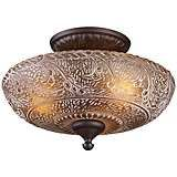 """Norwich Collection 14"""" Wide Oiled Bronze Ceiling Light"""