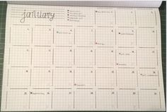 bullet journal - Monthly spread by Candice. I really like the corner-less boxes!