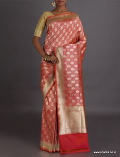 Aisha Golden Palm Leaf #RealZari Brocade #BanarasiSilkSaree