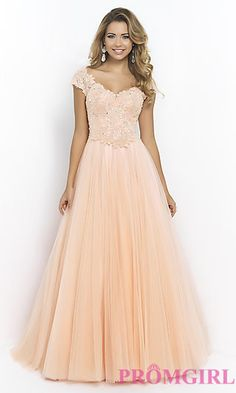 Cap Sleeve Lace Ball Gown by Blush BL-5403 at PromGirl.com