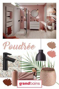 Inspirée du style Art Déco et de la couleur tendance le millennial pink la salle de bains poudrée de @grandbains01 semble tout droit sortie d'une élégante palette de maquillage blush. Le charme et le velouté. Un lai de papier peint aux motifs exotiques et feuillage accentué par des nuances de rose et d'orangé met en exergue la féminité et le design du meuble vasque et des accessoires. Le résultat : une salle de bains sobre et délicate. #Grandbains #salledebainsrose #millennialpink Rose Pastel, Theme Color, Motifs, Blush, Palette, Pink, Design, Houses, Shades