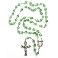 Bohemian Glass Birthstone Rosary - Peridot / August McVan, Inc.. $78.95