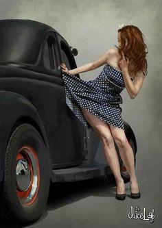 Hot rod pin up Mode Vintage, Vintage Pins, Pin Up Girl Vintage, Car Girls, Pin Up Girls, Girl Car, Modelos Pin Up, Pin Up Car, Pin Up Poses