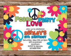 Custom Printable Peace Love Party Birthday by thepaperblossomshop, $12.50