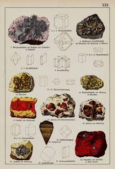 1888 antique Print eines Minerals, Mineralien drucken, Wissenschaft