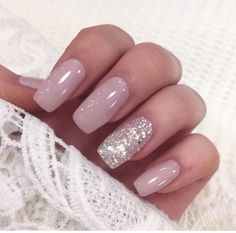 In seek out some nail designs and ideas for the nails? Here's our list of 38 must-try coffin acrylic nails for fashionable women. Silver Glitter Nails, Nude Nails, Coffin Nails, My Nails, Silver And Pink Nails, Blush Pink Nails, White Nails, Gorgeous Nails, Pretty Nails
