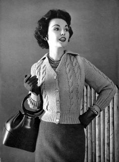 1950's knitwear. A lovely cold weather look, 1957