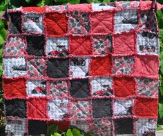 Case Tractor Rag Quilt in Red, Black, White and Gray 34 by 35 inches