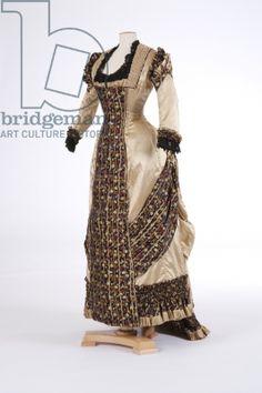 1870's silk satin evening dress.