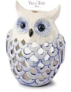 VILLA D'ESTE Lanterna Gufo porta candela in ceramica