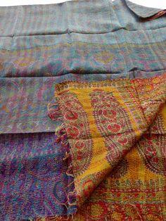 kantha shawls/kantha unique shawls /hand quilted shawls/hand stitched shawls flower print hand quilted  -  $65.00