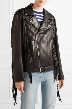 Gucci - Fringed Leather Biker Jacket - Black - IT36