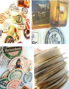 LOT OF 33 VINTAGE BEER COASTER ANTIQUE MIX GERMAN USA BREWER GERMAN .99 CENT NR