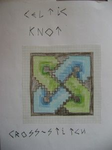 Age 10 ~ Handwork ~ Cross Stitch Celtic Knot ~ sketch