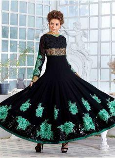 Dazzling Black Pure Georgette Embroidery Resham Butta Work  Anarkali Suit http://www.angelnx.com/Salwar-Kameez/Anarkali-Suits