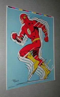 Rare vintage original 1979 DC Comics Universe THE FLASH pin-up poster:1970's JLA Justice League of America movie and tv series comic book superhero pinup!