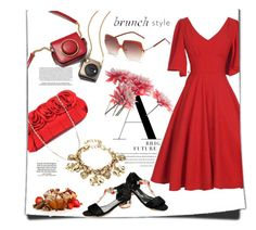 """""""Luli"""" by stellina-from-the-italian-glam ❤ liked on Polyvore featuring Loewe, vintage, red, dress, cheapandchic and brunchgoals"""