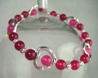 'Covet': Magenta Jade Stackable Bracelet with Silver Plated Heart Spacers