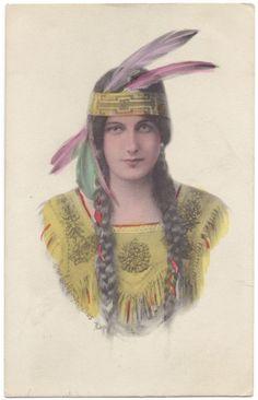 Illustrated Postcard Native American Indian Princess.