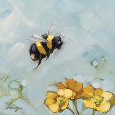 "Reserved for Leah - Bumblebee painting, Original impressionistic oil painting of a Bumblebee, 5x5"" on panel, bee art, bees, garden art"