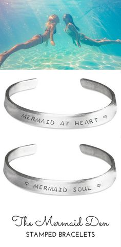 Cute Mermaid & Beach Stamped Metal Cuff Bracelets. Perfect jewelry for summer vacation at the beach.