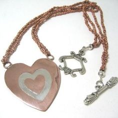Copper Inlay Heart Nechlace by Margo Konikoff