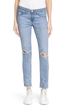 rag & bone/JEAN Ripped Knee Skinny Jeans (Birdie)