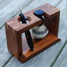 Teak Shaving Stand for Straight Razor  Badger Brush- with Maple Accents. For the old fashioned man who has everything