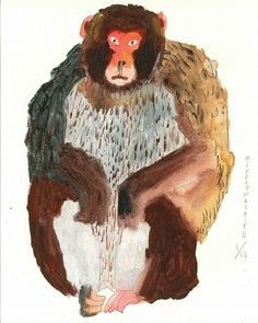 monkey illustration by Miroco Machiko Art And Illustration, Illustrations And Posters, Animal Illustrations, Animal Paintings, Animal Drawings, Art Drawings, Monkey Art, Pretty Drawings, Art Graphique
