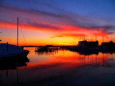 Fiery Newport Harbor, RI
