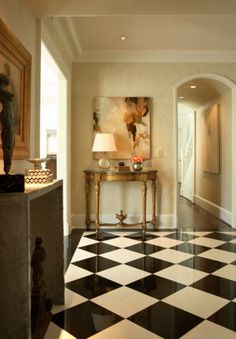 elegant-dramatic-flooring-tile-black-white-diamond-pattern-foyer- Carefully chosen and placed novelty tables and furniture add charm and cosiness. hall-entry-way-decorating--abstract-art-console-table-decor-Dillard-Design-Group Design Entrée, Flur Design, Hall Design, House Design, Design Ideas, Design Inspiration, Home Interior, Interior And Exterior, Interior Design