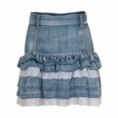Cute denim skirt from Creamie (Cream).  Love this idea for my girls!!!  Jeans Skirt #2dayslook #ramirez701  #JeansSkirt  www.2dayslook.com                                                                                                                                                     Mais