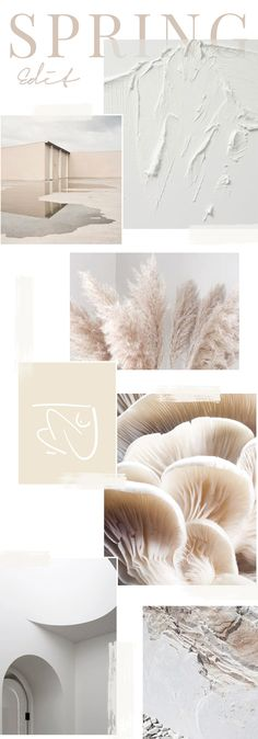 The Seasonal Edit - Spring 2018 This Spring is all about subtle hues of white, cream and light beige, but with major texture. #trends #spring #moodboard #white #cream #beige
