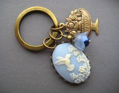 Hummingbird Keychain - Victorian Key Ring - Cameo Keychain - Hummingbird Gifts - Blue Bird Keyring - Light Blue Key Holder - Spring Gifts by SilverTrumpetJewelry on Etsy https://www.etsy.com/listing/227207526/hummingbird-keychain-victorian-key-ring
