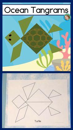 First grade math resources shape center Ocean Tangram puzzles Ocean Lesson Plans, Lesson Plans For Toddlers, Preschool Lesson Plans, Preschool Math, Ocean Activities, Preschool Activities, Animal Activities For Kids, Tangram Puzzles, Kindergarten Classroom Decor