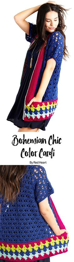 Bohemian Chic Color Cardi free crochet pattern in Chic Sheep by Marly Bird yarn. Set your color inhibitions free and choose free-spirited colors for this season-spanning longer-length crochet cardi. Layer it over long sleeves in the winter or sleeveless outfits as the weather warms. You'll love the way this talented designer engineered the border and pockets! #chicsheepyarn #merinowool