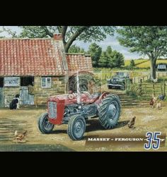 Large Metal wall sign Massey-Ferguson 35 Tractor & Series 1 Land Rover