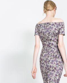 BOAT NECK PRINTED DRESS - Dresses - Woman | ZARA Romania