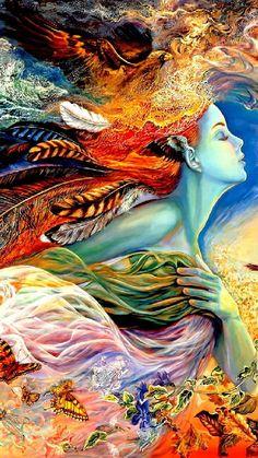 Fantasy Kunst, Josephine Wall, Spirited Art, Beautiful Fantasy Art, Goddess Art, Fantasy Paintings, Visionary Art, Psychedelic Art, Fairy Art