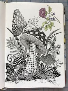 Doodle Art Drawing, Zentangle Drawings, Zentangle Patterns, Art Drawings Sketches, Painting & Drawing, Zentangles, Zentangle Art Ideas, Zen Doodle, Mushroom Drawing