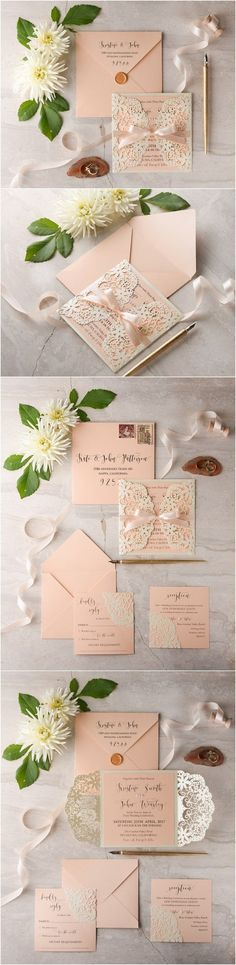 Peach and Ivory laser cut wedding invitations 11LuctGGz