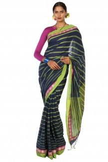 Ink Blue Stripped parrot green saree