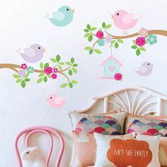 kit de vinilo ramas pajaritos casita rosa pastel