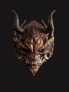 ArtStation-mask, Shao zhijiao - Basic Care for Beautiful Womans Samurai Tattoo, Samurai Art, Hannya Maske Tattoo, Japanese Demon Mask, Armadura Medieval, Mask Tattoo, Cool Masks, Masks Art, Art Station
