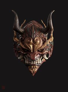 ArtStation-mask, Shao zhijiao - Basic Care for Beautiful Womans Samurai Tattoo, Samurai Art, Mascara Oni, Hannya Maske Tattoo, Japanese Demon Mask, Mask Drawing, Armadura Medieval, Mask Tattoo, Masks Art