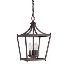 Stanton Burnished Bronze Three-Light Foyer Pendant- for over the bar area leading to the dining room
