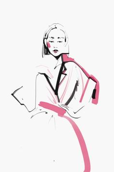 Love this! #FashionIllustration  Only a few lines... GORG! Illustration by: Kathy Murysina