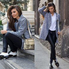 Sheinside Coat, Sheinside Leggings, Jessica Buurman Oxfords